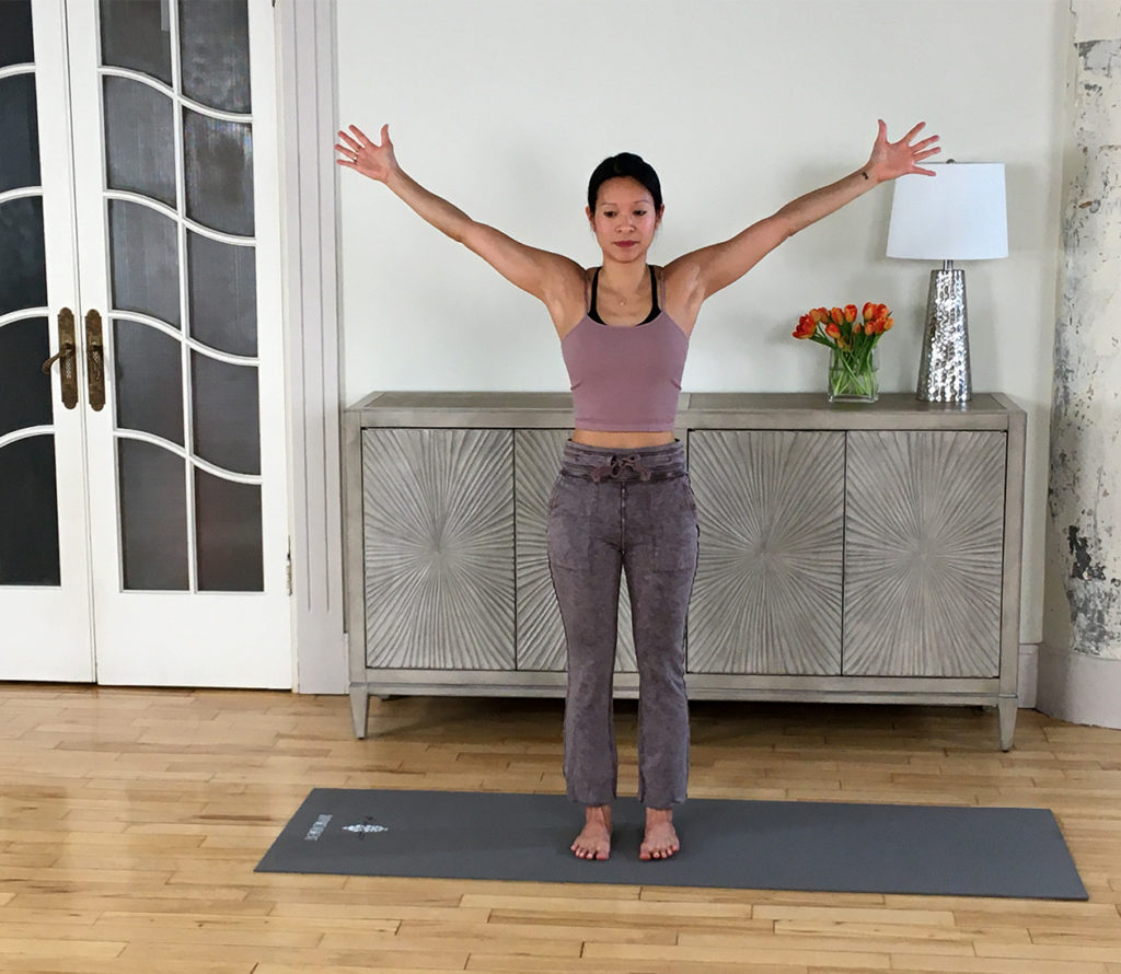 Vanessa demonstrates a stretch